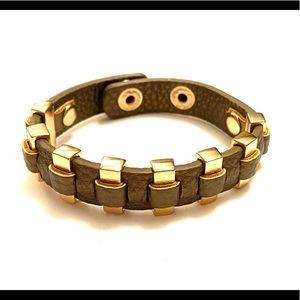 Metallic leather gold bracelet